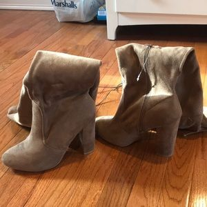 Brown/tan suede thigh high boots